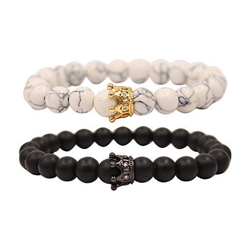 UEUC King&Queen CrownDistance Couple Bracelets His Hers Black Matte Agate 8mm Beads Bracelet