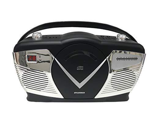 Sylvania Portable Cd Boombox with Am FM Radio, Retro Style, Black