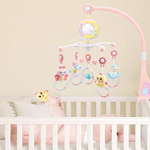 Bebé musical cuna móvil con proyector y luz nocturna, juguetes de control táctil, proyección, rotación, sonajeros, juguete de bebé para control remoto, juguete para recién nacido (rosa)