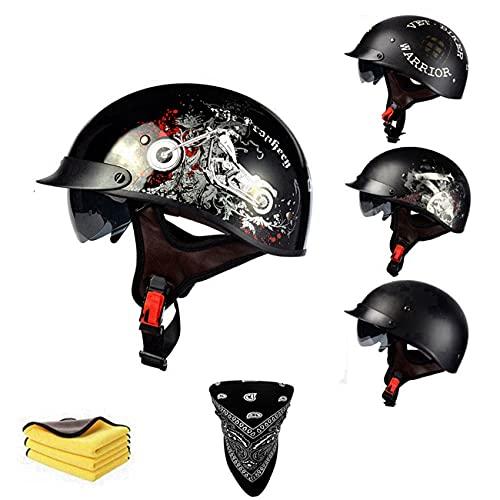 Cascos de béisbol de moda vintage de cara abierta – con visera solar hebilla de liberación rápida – para hombres y mujeres Bike Cruiser Chopper ciclomotor scooter ATV cascos DOT/ECE aprobado (B, M)