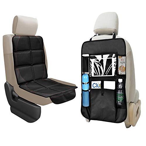 Queta Autositzauflage, Auto-Rücksitz-Organizer Kindersitzunterlage mit Schaumstoff und praktischen Rücksitz-Taschen, Autositzschoner Universalgröße