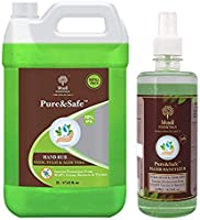 Khadi Essentials Pure&Safe 70% Alcohol Multi Purpose Sanitizer with Neem, Tulsi & Aloe Vera Extracts 2000ml (2L Hand...