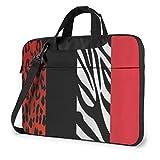 Bolso para portátil con Estampado de Animales de Leopardo y Cebra Rojo, maletín de Hombro para Negocios