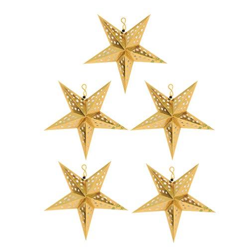 Amosfun Pappersstjärna lampskärm gyllene 30 cm julstjärna adventsstjärna papper pentagram vikstjärnor 5 delar hängande julhängen fest festival julgransdekoration juldekoration