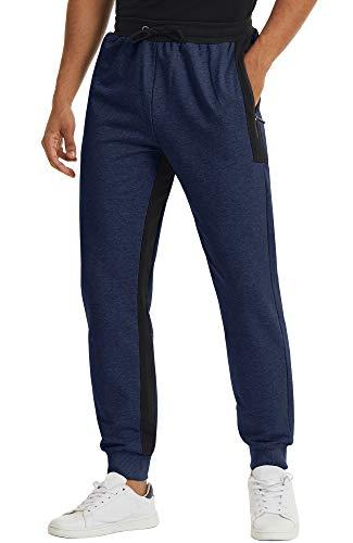 TACVASEN Pantalon de Survêtement Homme Coton Pantalon de Jogging Pantalon Homme Sweatpants Léger Pantalon D'entraînement Pantalon Bas de Jogging Tracksuit Coton Joggers Pantalon de Gym Bleu