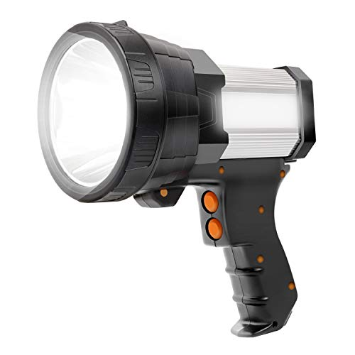 Rechargeable Spotlight Led Tactical Flashlight Super Bright 10000mah 6000 Lumens Spot Light Waterproof Handheld Searchlight Power Bank Function Torchlight 6 Modes with Tripod (Aluminium_Alloy Silver)