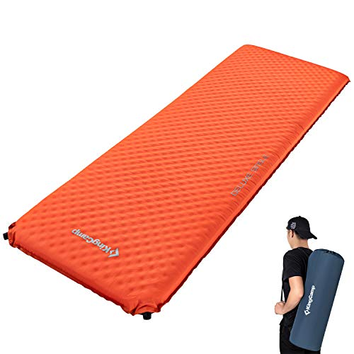 KingCamp Deluxe Single Self Inflating Sleeping Mat Camping Thick Foam Roll up Mattress Outdoor 198 × 63 ×7.5 cm/Orange