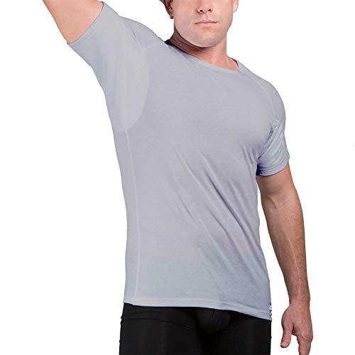 Camiseta Interior de Hombre a Prueba de Sudor Eji, Cuello Redondo, Plata antiolor, algodón, Almohadillas para el Sudor (L, Grey)