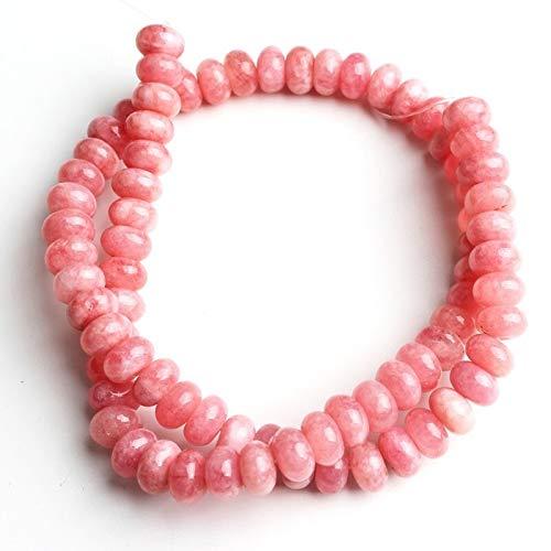 haoyushangmao Aquamarine los Granos Naturales Redondos del Espaciador 5x8m m Piedra de joyería Que Hace Bricolaje Pulsera Pendientes del Collar de 15 Pulgadas (Color : Rosado)