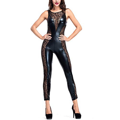 Frauen Sexy Leder Jumpsuits Unterwäsche Reißverschluss Dessous Hohl Versuchung Nachthemd Spitze ärmellose Lederwäsche