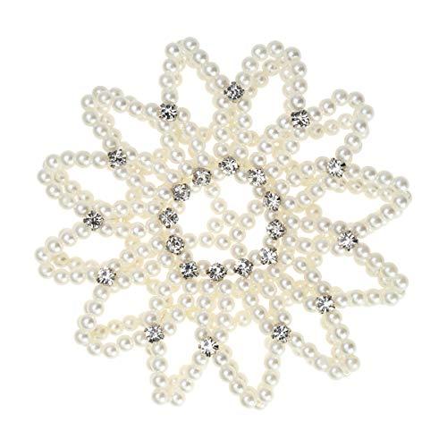 Lurrose Elastisches Haar Snood Net handgemacht häkeln Perle Haarnetz Ballett Bun Haar deckt Herz Kleid für Frau Mädchen (weiß)