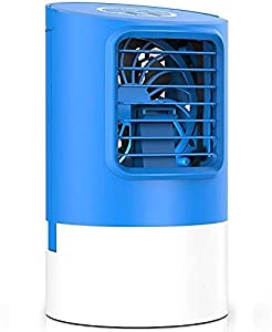 DNDN 5 in 1 Compact Air Cooler with Humidification and Air Cleaning Function, Portable Mini Air Conditioner Humidifier & Purifier with 7 Colors LED Night Light