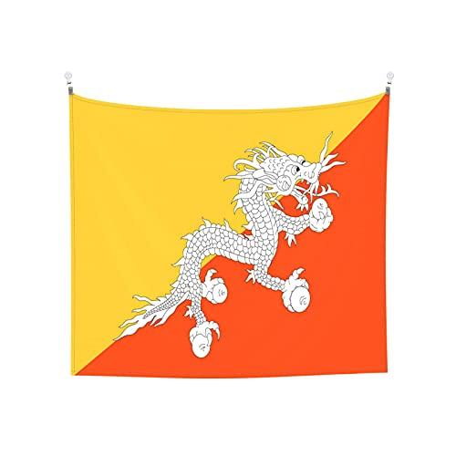 Bhutan-Flagge Tapisserie Wandbehang Tarot Boho Beliebte Mystic Trippy Yoga Hippie Wandteppiche für Wohnzimmer Schlafzimmer Wohnheim Heimdekor Schwarz & Weiß Stranddecke