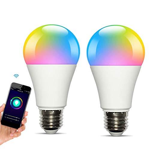 LED Glühbirne Farbwechsel für Alexa e27, Smart Lampe für Google Home RGBCW Lampen Warmweiß Kaltweiß Mehrfarbige Leuchtmittel 2700-6500K für Echo Glühbirne Dimmbar WiFi Licht (10W 1000Lm, 2 Pack)