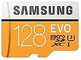 Samsung MicroSDXC EVO - Tarjeta de Memoria (MicroSDXC EVO, 128 GB, MicroSDXC, Clase 10, 100 MB/s, UHS-I, IPX7), Naranja/Blanco