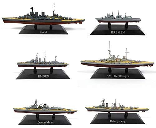 OPO 10 - Lote de 6 Buques de Guerra 1/1250 SMS DERFFLINGER Hood Deutschland KONIGSBERG Bremen Emden (WSL29: 33 + 9 + 15 + 13 + 35 + 14)