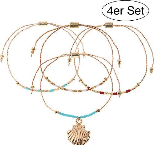 Made by Nami 4er Set Damen-Armband mit Perlen und Muschel Perlen-Armband Surfer-Armband Surfer-Schmuck für den Strand (Gold Perlen Muschel) (Set 1)