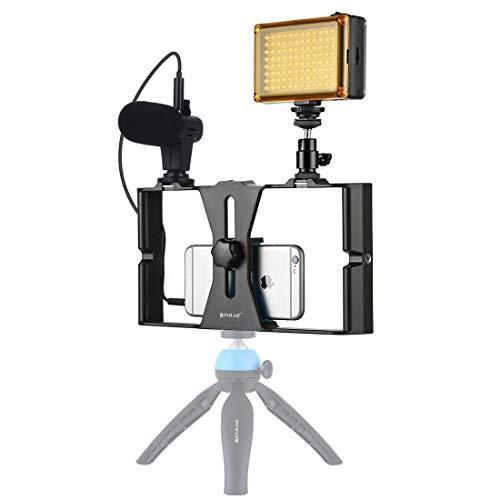 NMYANXU 3 in 1 Vlogging Radiokronaca LED Selfie Smartphone Video Kit Rig met microfoon + koude schoen statiefkop voor iPhone, Galaxy, Huawei, Xiaomi, HTC, LG, Google en andere Smartphones, Blauw