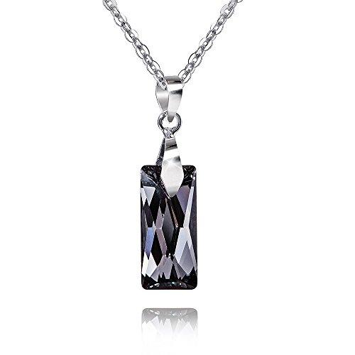 MATERIA 45 cm ankerketting met dameshanger rechthoek 925 zilver met Swarovski kristallen zwart #SWK-12