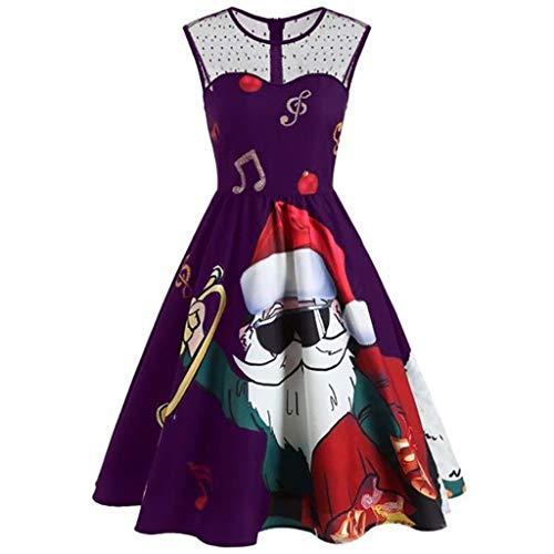 TEELONG Kleider Damen Kalte Schulter Spitze Oansatz Weihnachten Weihnachtsmann Print Vintage Kleid Ballkleid Partykleid Cocktailkleid(XXL, Lila)