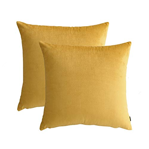 JYXIUBS - Juego de 2 fundas de almohada para sofá, cama, decoración del hogar, 45 x 45 x 45 cm (amarillo)