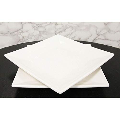 11' White Melamine Modern Square Serving Dinner Plates Or Dish Platters Set of 2 Figurine EBR02