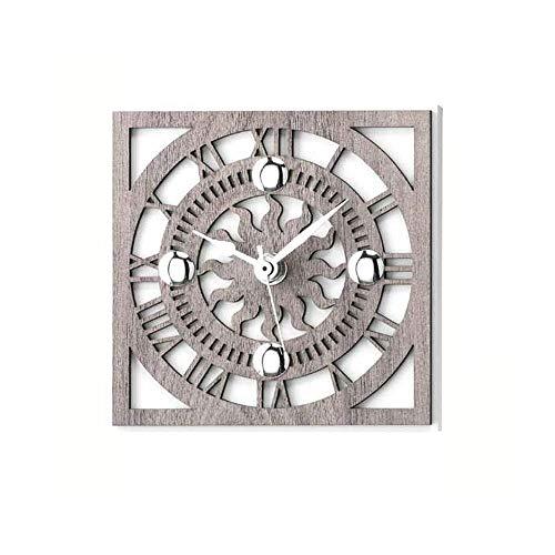 Sonnenuhr, Holz, Silber, Maße: 14 x 14 x 315 cm