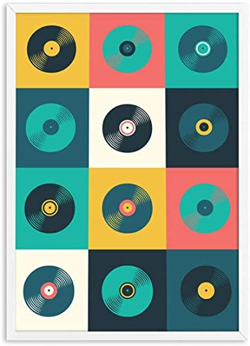 RuiChuangKeJi Print on canvas 19.7x27.6in(50x70cm) No frame Retro Vinyl Record Poster Music Themed Inspirational Art Print Abstract Gift Vintage Wall Picture Living Room Decor