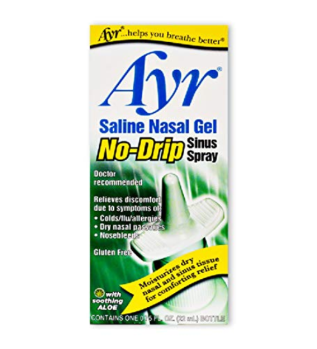 Ayr Saline Nasal Gel No-drip Sinus Spray With Soothing Aloe Vera,...