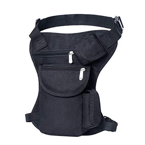LIOOBO Bolsa Multifuncional para piernas Bolsa de Lona portátil para Deportes al Aire Libre Viaje de Viaje Cinturón de Dinero Paquete para el Deporte al Aire Libre Ciclismo (Negro)
