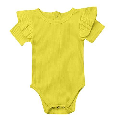 Yazidan Neugeborenes Baby Mädchen solide Kurze Ärmel Rüschen Strampler Overall Outfits Kleidung Kurzarm Strampler für Kinder mit Rüschen Overall