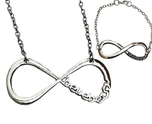 Orion Creations Justin Bieber Silber Ton 'Belieber' Infinity-Halskette und Armband Set