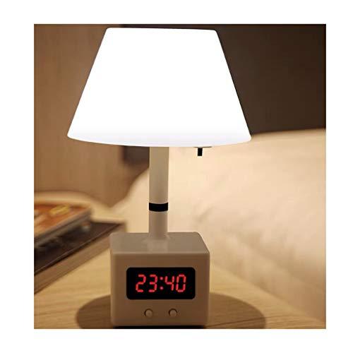 YINGZI Lámparas de Lectura Recargable Lámpara de Mesa con el Reloj Remoto Protección de Los Ojos de Control Luz de la Noche de Ahorro de Energía de la Lámpara Dask Luz Tenue