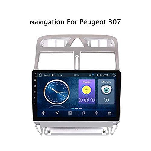 MMFXUE Android 8.1 Car DVD Reproductor de Video Navegación GPS Multimedia para Peugeot 307 Radio 2004-2013, Llamada Manos Libres BT, Control del Volante, Enlace Espejo
