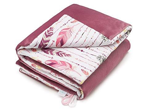 EliMeli BABYDECKE neue Velvet Kollektion Krabbeldecke Kuscheldecke Kinderwagedecke mit Füllung Warme Baby Decke Ideal als Geschenk für Junge und Mädchen (Rosa - Federn)
