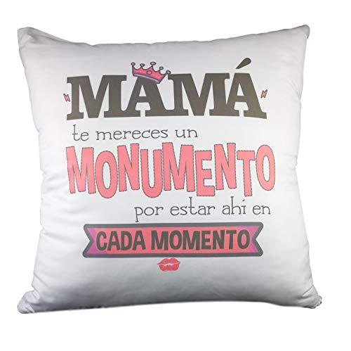COJIN con Frase MAMÁ TE MERECES UN Monumento.Regalo Dia DE LA Madre.Regalo para MAMÁ. Regalos DÍA DE LA Madre
