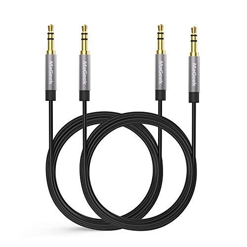 MaGeek Cable Jack 3.5 mm, (3,0 Metros, Pack de 2) Cable de Audio Estéreo Macho Macho para Auriculares, iPhone,iPod, iPad, Car Audio, Home Stereo y más. (Negro)