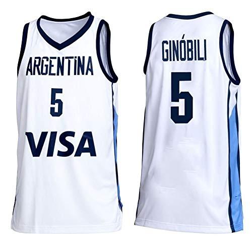 Zyf Camiseta Baloncesto Camiseta De Baloncesto Masculino, Manu Ginóbili # 5 Argentina Camiseta De Baloncesto De Los Hombres, Malla Transpirable Tamaño Estándar XS-XXL (Color : C, Size : XS)