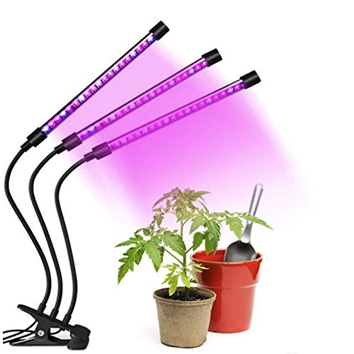 HUOGUOSHU LED Plant Grow Light, Plant Grow Lamp, 3 Light Colors* 9 Dimmable Levels, 15 inch Plant Light Bar with 3/9/12H Timer, for Indoor Plant Growth(Need 5V 2A Mains, Not included)