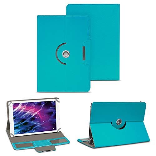 NAUC Medion Lifetab E10604 E10412 E10511 E10513 E10501 Tablet Tasche Hülle Schutzhülle Hülle Schutz 10.1 Cover 360° Drehbar, Farbe:Türkis