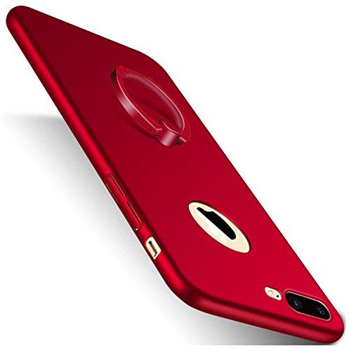 AIsoar Funda para iPhone 7 Plus, iPhone 8 Plus con anillo de soporte ultra fina, antipolvo, ultra protectora, antiarañazos, carcasa antigolpes (roja, iPhone 7 Plus)