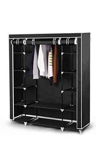 *Best For Home XXL 175 x 150 x 45 cm Stoffschrank Kleiderschrank Faltschrank mit Kleiderstange und 11 Regalfächern, inkl. Schutzhülle, viele Aufbauvarianten, CE-Zertifikat schwarz oder grau(Schwarz)*