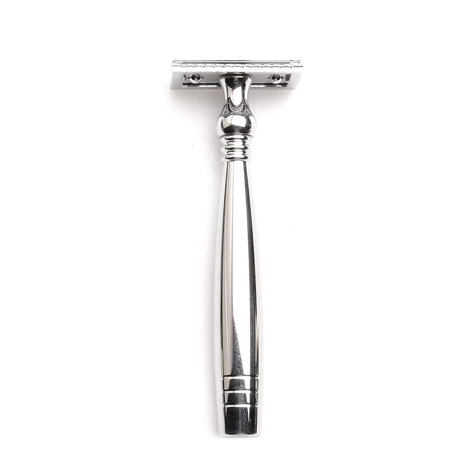 聞く許容減衰Decdeal 両面剃刀両面ステンレススチールトリマー男性の伝統的なひげ剃りメタルカミソリ長いハンドルで男性のひげ剃りツール