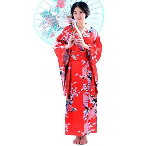 Beaums Mujeres niñas japonés Satinado Floral Yukata, Seda Larga Larga Kimono Yukata Foto Cosplay Disfraz
