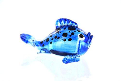 Bolvis blauw met zwarte stippen - figuur van glas buffer - glazen figuur glasvis koraalvis siervis decoratieve zetkast vitrine aquarium
