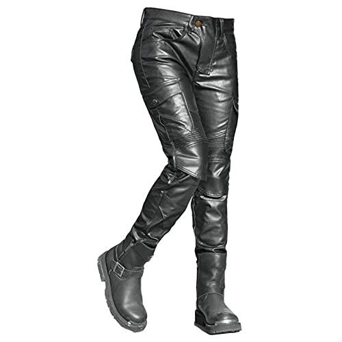 SXQSNKJ Damen Motorradjeans Leder wasserdichte Motorrad Schutzhose Bikerhose mit Abnehmbarer gepanzerter Radsporthose mit Mehreren Taschen,Black-XXS=26.7'' (68cm Waist)