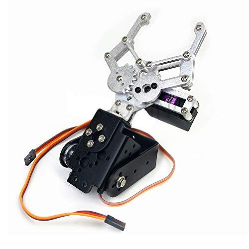 WYY Aluminio Mecánica del Robot De Coches Pinza Kit, 2DOF Brazo Robótico Abrazadera Garra, Holder Soporte De Montaje con MG996R Servo para El Estudio De Arduino Y Diversión De Bricolaje
