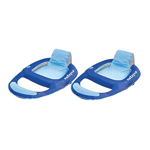 Kelsyus 80014 Floating Swimming Pool Lounger Inflatable Chair with Built in Cup Holder, Blue (2 Pack)