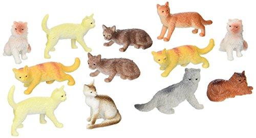 "US Toy Dozen Plastic Cat Figures, 2"""