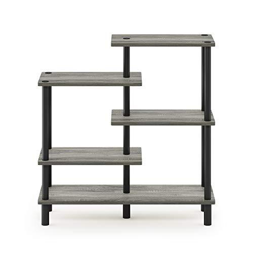 Furinno Akzent-Deko-Regal mit unterschiedlichen Ebenen, holz, Französische Eiche Grau/Schwarz, 29.49 x 80 x 82.5 cm